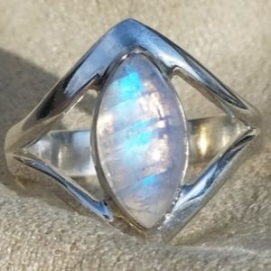 Marquise Rainbow Moonstone Sterling Silver Ring